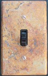 Scabbas travertine switch plate
