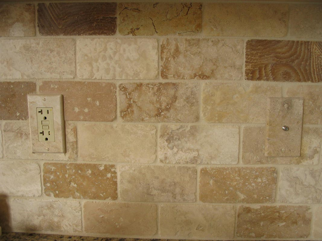 Installed Travertine Light Switch Cover Plate