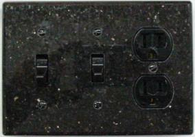 Triple gang granite light switch cover