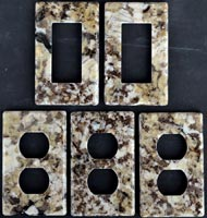 Granite receptacle covers and light switch cover plates
