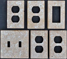 tumbled travertine light switch cover plates